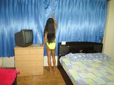 Slender biggest snake Thai tgirl getting barebacked hardcore in her bedroom
