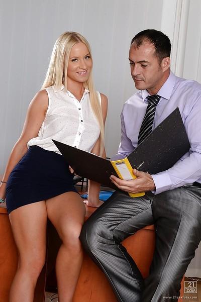 Dressed European blondie Kiara Lord sucks mammoth knob of her boss