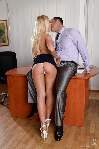 Dressed European blondie Kiara Lord sucks mammoth knob of her boss