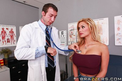 Rounded pornstar Shyla Stylez attains anal group-fucked by a lustful doctor