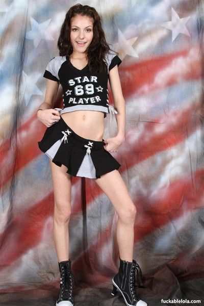 Lean youthful with little bumpers cheer uniform