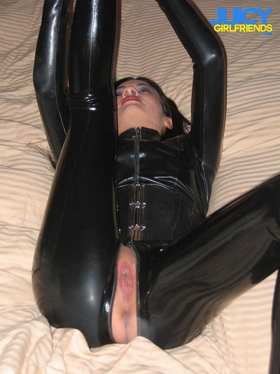 Concupiscent model in latex shows her skills