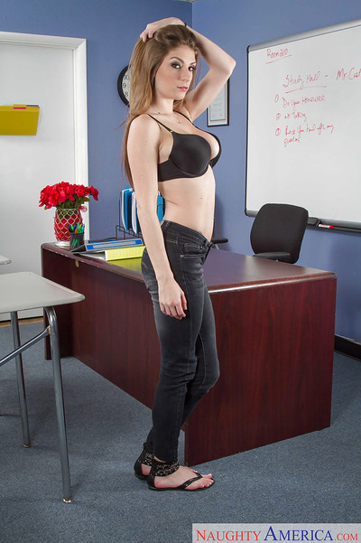 Coed beauty Dillion Carter is undressing on the table later till