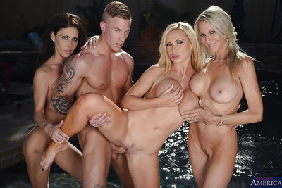 3 attractive wives blowing that massive phallus and obtain nailed