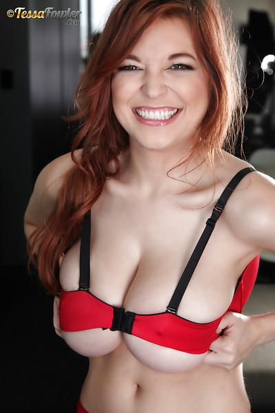 Big-tit pornstar Tessa Fowler strips her fabulous red underware