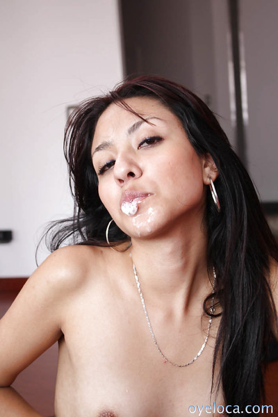 Lascivious young Adriana Vega with compact pantoons keen to to eat jizz later cowgirl banging