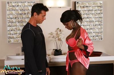 Black wench with oiled wazoo Tatiana Foxx plays with heavy prick