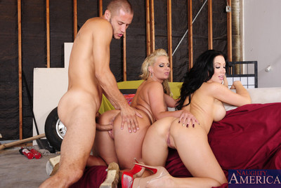 Alluring Jayden Jaymes and Phoenix Marie are gathered lascivious and give a decision to have clammy copulation with one largest cocked guy.