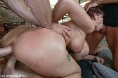 Colossal tit milf takes 2 rods in her a-hole and pussy!