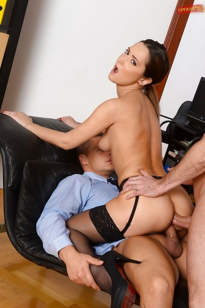 European MILF Angie Moon pleasant semen on face in office afterwards hardcore DP