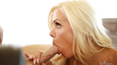 European milf Nina Elle enjoys licking scrotums and engulfing snake