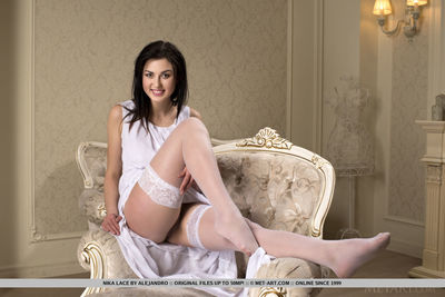 European cutie Nika Lace exhibiting hot legs in nylons for glam eject