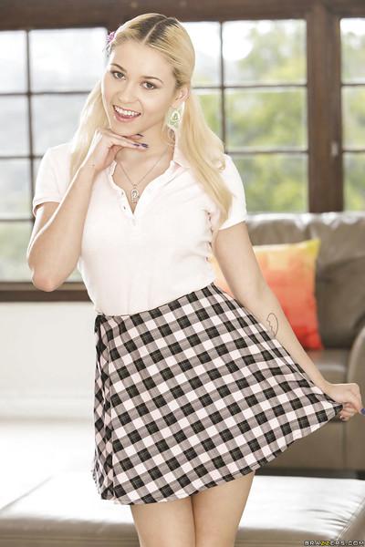Rod crazed golden-haired schoolgirl Marsha May showing off her uniform