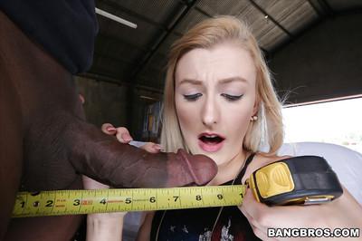 Teen fairy floozy Alexa Grace overwrapping her lips around enormous swarthy shlong