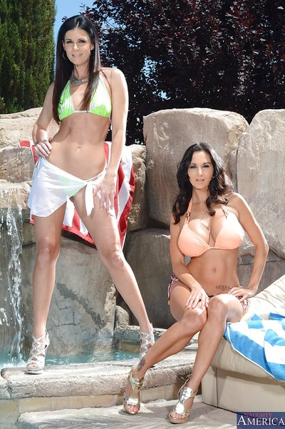 Outdoor masturbation and posing with alluring milfs