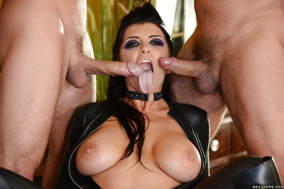 Brunette hair cutie Romi Rain tempting plentiful cumshots on face in group sex doing