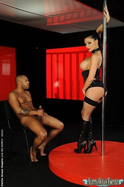 Interracial banging afterwards stripping from attractive pornstar Aletta Ocean