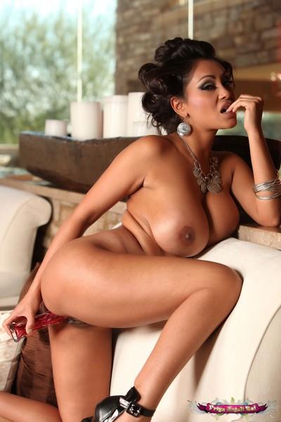 Priya rai shows off her satisfying mammoth indian breasts