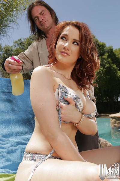 Milf redhead has her pornstar wazoo pounded hardcore at the poolside