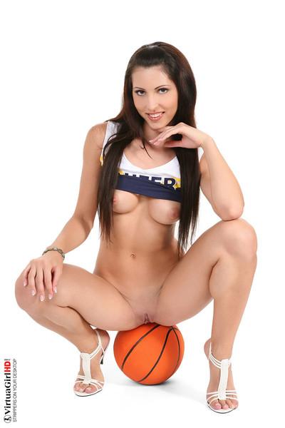 Nasty brown hair perky ann in basketball uniform