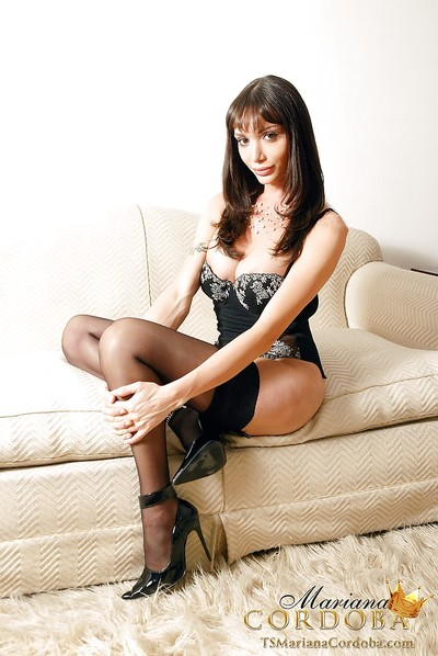Glamorous dick-holding ladies Mariana Cordoba posing solo in nylons and high heels