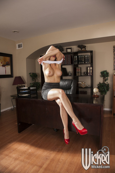 Fascinating office beauty Chanel Preston striptease off her clothing