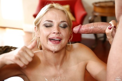 Blond milf Sarah Vandella dose facefucking and gains ejaculation