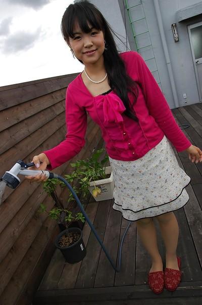Chinese juvenile Nao Kodaka undressing and widening her pink flaps