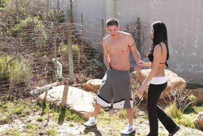 R/T sexual act scene with a cougar milf India Summer astonishingly outdoor