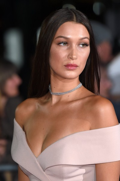 Bella hadid cleavy and leggy in a taut clothing