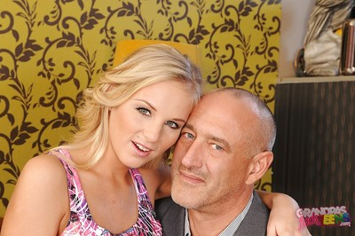 Blond young princess Barbie White acquires her attractive gentile owned by an elderly boy