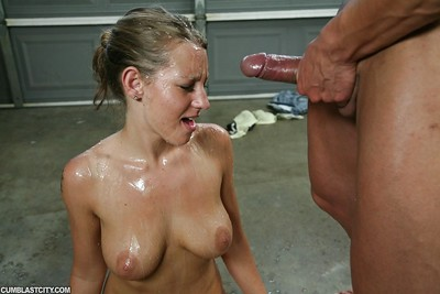 Enormous busted angel in strings gives a terrific handjob and receives bukkaked