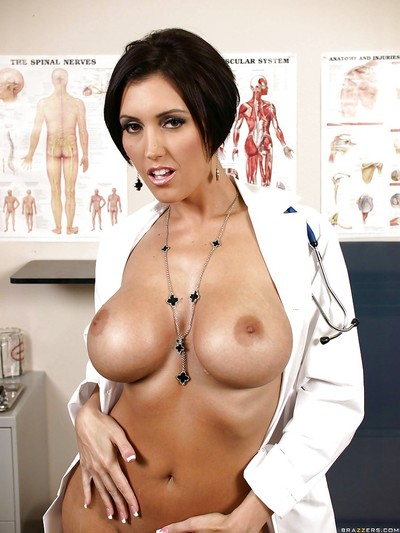 Raunchy cutie Dylan Ryder takes off uniform to show her vast love melons