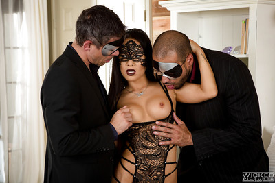 Masked Oriental pornstar Asa Akira getting dug in MMF two men plus one female