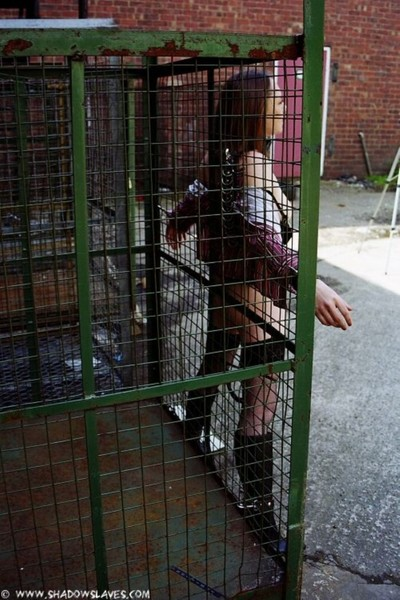 Adolescent subbie mikki in various outdoor obedience straps