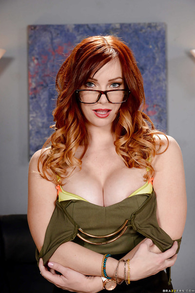 Glasses adorned solo angel Dani Jensen exposing enormous meatballs and wazoo in office