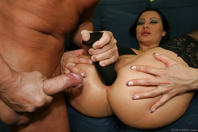 Sandra Romain obtains her butthole penetrated by a rough wang and a swarthy implement