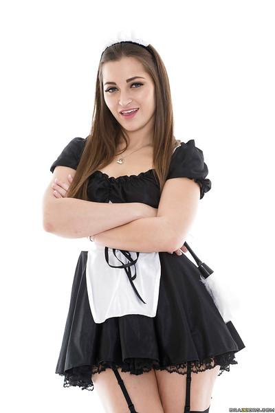 Glamorous woman servant Dani Daniels location in her amazing uniform and high heels