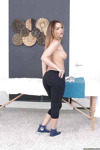Solo model Dillion Harper flashing gigantic all normal milk shakes on massage table
