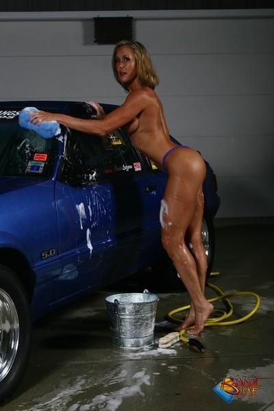 Brandi love washing mustang