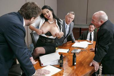 Buxom Lalin girl secretary Missy Martinez giving a tit smoking in office