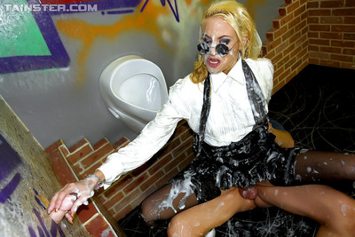 Fairy cutie in nylons acquires nailed hardcore and acquires bukkaked with fake jism