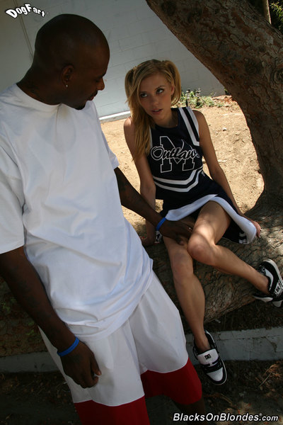 Merry blond cheerleader acquires her number 1 smack of interracial fucking