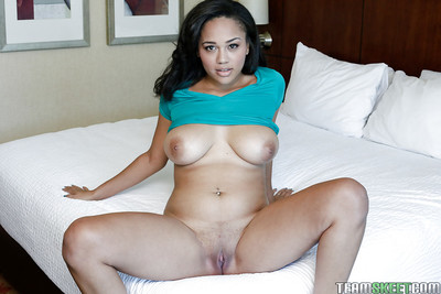 Black young Julie Kay is revealing her awesome-looking giant wobblers