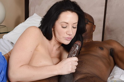 Alluring MILF receives her gullet and love holes stuffed with dualistic swarthy prides