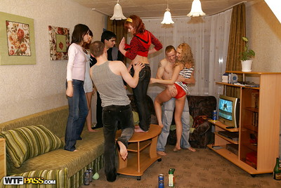 Salacious coeds play a vehement love making act groupie with studly pals
