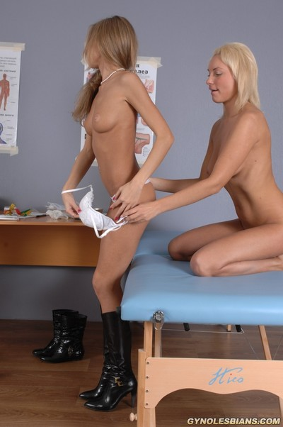 Sexalted uncovered gyno examinee of a lesbo nurse