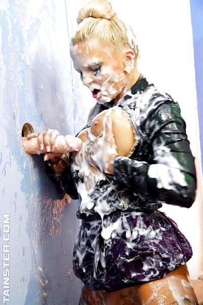 Perverted blond vixen Jenna Joyful is adores smutty bukkake act