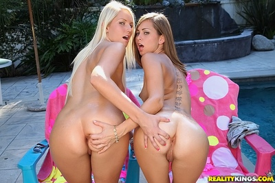 Extraordinary juvenile pretty in sunglasses Vanessa Cage posing with her supporter outdoor