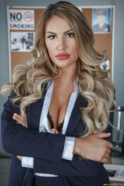 Stocking clothes golden-haired beauty August Ames revealing enormous pornstar front bumpers in office
